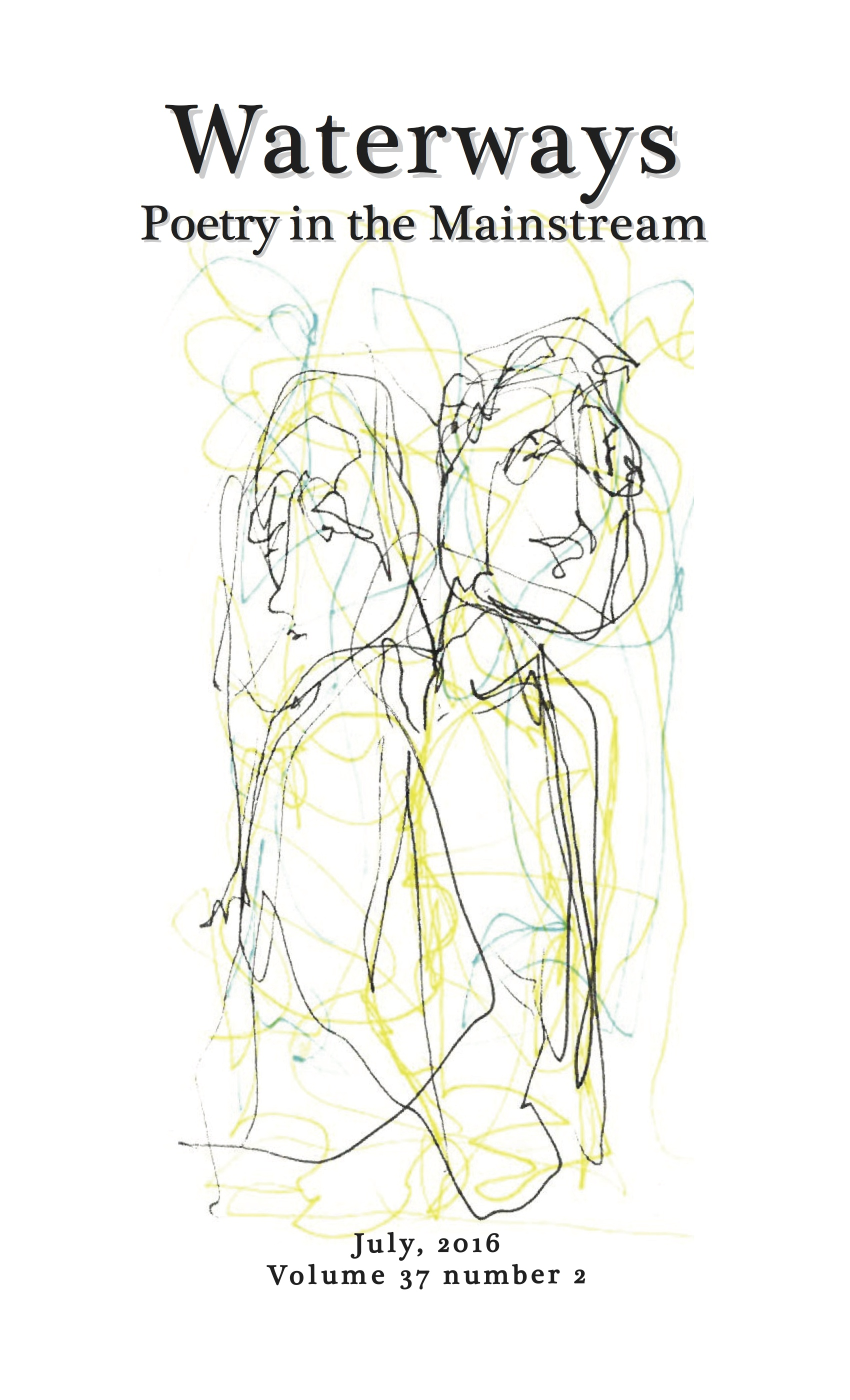 Richard Spiegel's sketch of couple for cover of Waterways: Poetry in the Mainstream