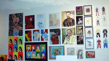 wall of student art